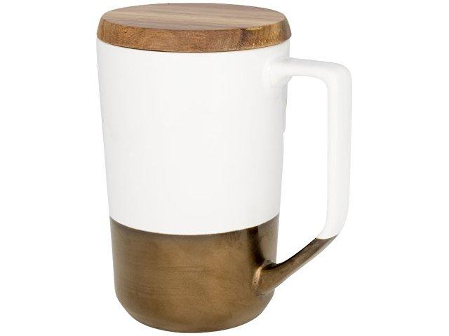 Керамическая кружка Tahoe для чая и кофе с деревянной крышкой, белый