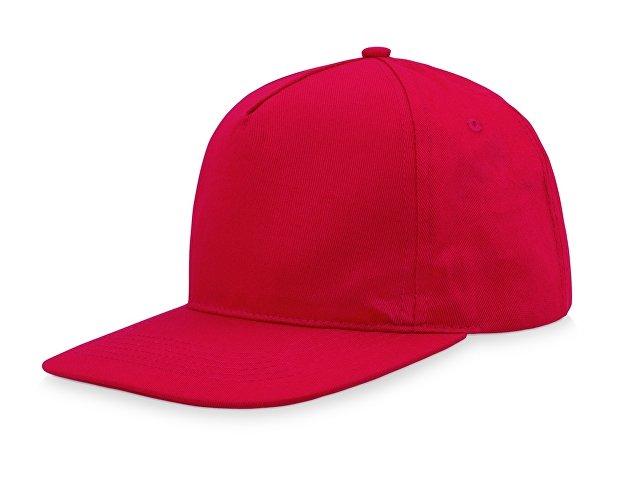 Бейсболка  5-ти панельная с прямым козырьком, красный