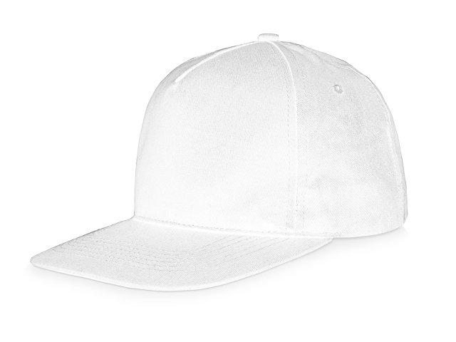 Бейсболка  5-ти панельная с прямым козырьком, белый