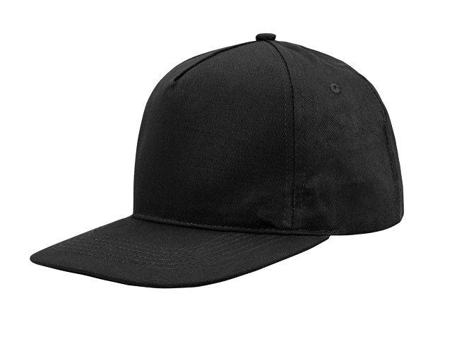 Бейсболка  5-ти панельная с прямым козырьком, черный