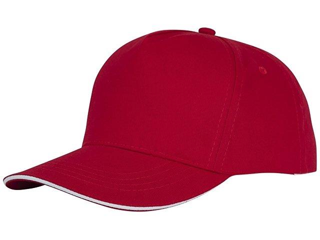 Пятипанельная кепка-сендвич Ceto, красный