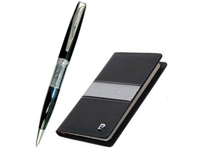 Набор: ручка шариковая, записная книжка. Pierre Cardin, черный/серый
