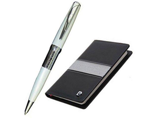 Набор: ручка шариковая, записная книжка. Pierre Cardin, черный/белый