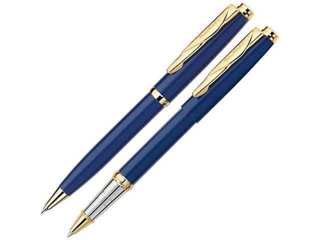 Набор: шариковая ручка и ручка-роллер PEN & PEN. Pierre Cardin, синий/серебристый/золотистый