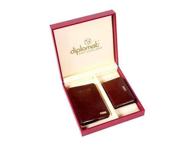 Набор Diplomat: обложка для паспорта, визитница, коричневый