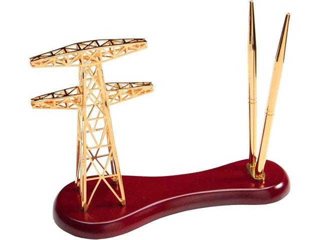 Настольный прибор «Энергия», золотистый/красное дерево
