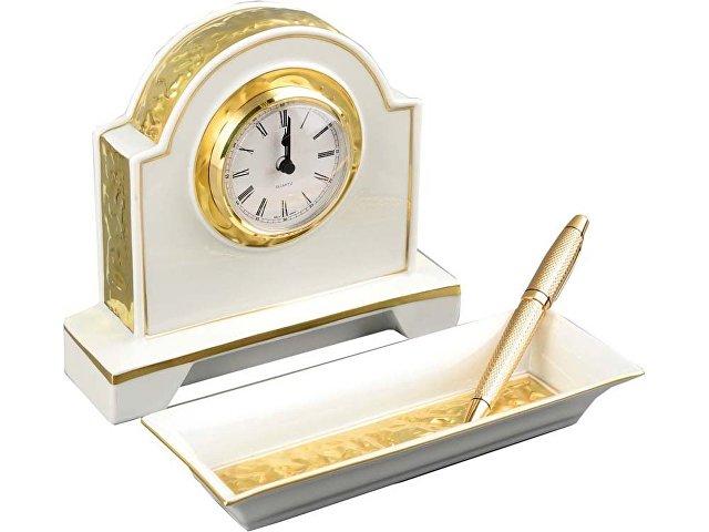 Набор: настольные часы и керамический офисный органайзер Rudolf Kampf, белый/золотистый