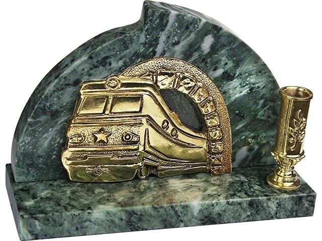 Настольный прибор «Поезд», золотистый/зеленый