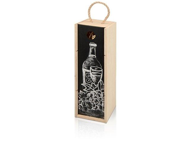 Пенал на 1 бутылку с грифельной крышкой, натуральный