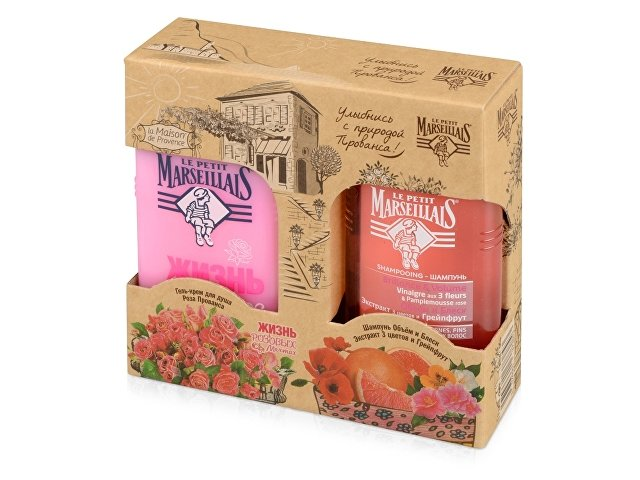 Набор Le Petit Marseillais «Роза Прованса&Экстрат 3 цветов-Грейп»: гель д/д. 250мл, шамп. 250мл. J&J