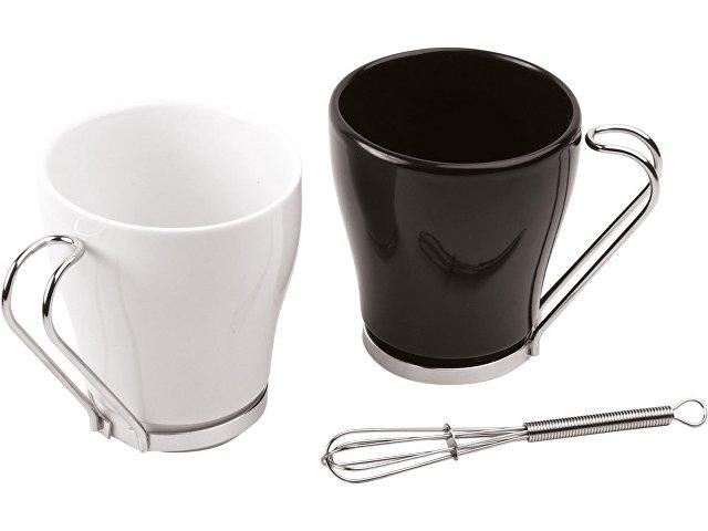 Набор: 2 чашки на 235 мл, 2 салфетки, кольца для салфеток, 2 венчика для взбивания пены