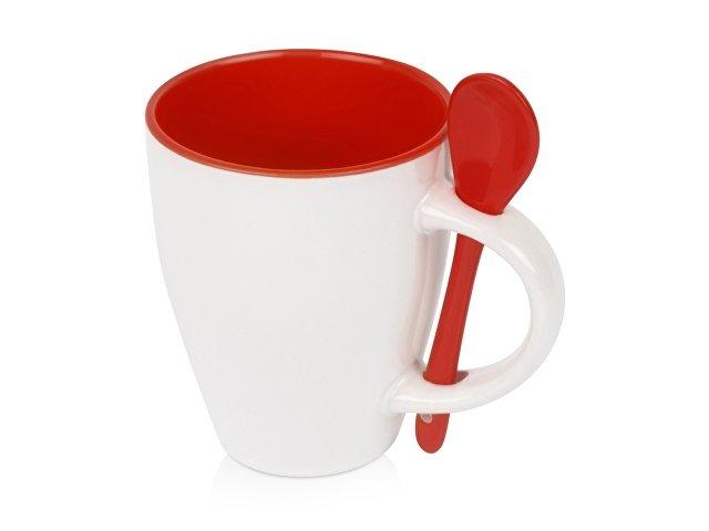 Кружка «Авеленго» с ложкой, красный