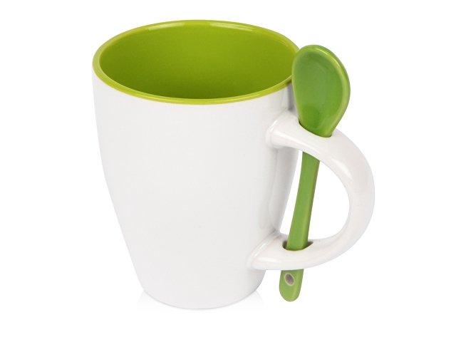 Кружка «Авеленго» с ложкой, зеленое яблоко