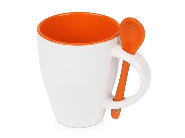 Кружка «Авеленго» с ложкой, оранжевый