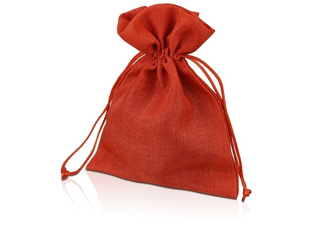 Мешочек подарочный, искусственный лен, средний, красный