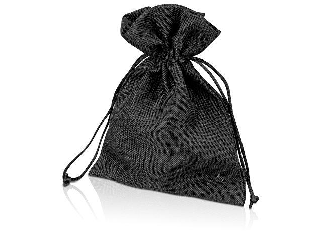 Мешочек подарочный, искусственный лен, средний, черный