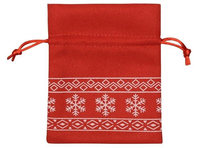 Мешочек подарочный новогодний, хлопок, малый, красный