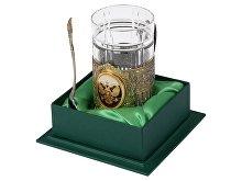 Подстаканник с хрустальным стаканом и ложкой «Российский» (арт. 9710)