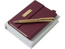 Набор Nina Ricci: дизайнерский блокнот А6, шариковая ручка, бордовый