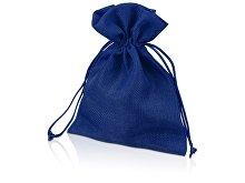 Мешочек подарочный, искусственный лен, средний, темно-синий