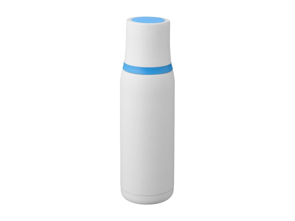 Вакуумный термос Flow, белый/синий