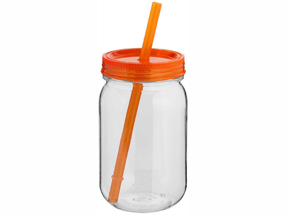 Стакан в виде банки Binx, прозрачный/оранжевый
