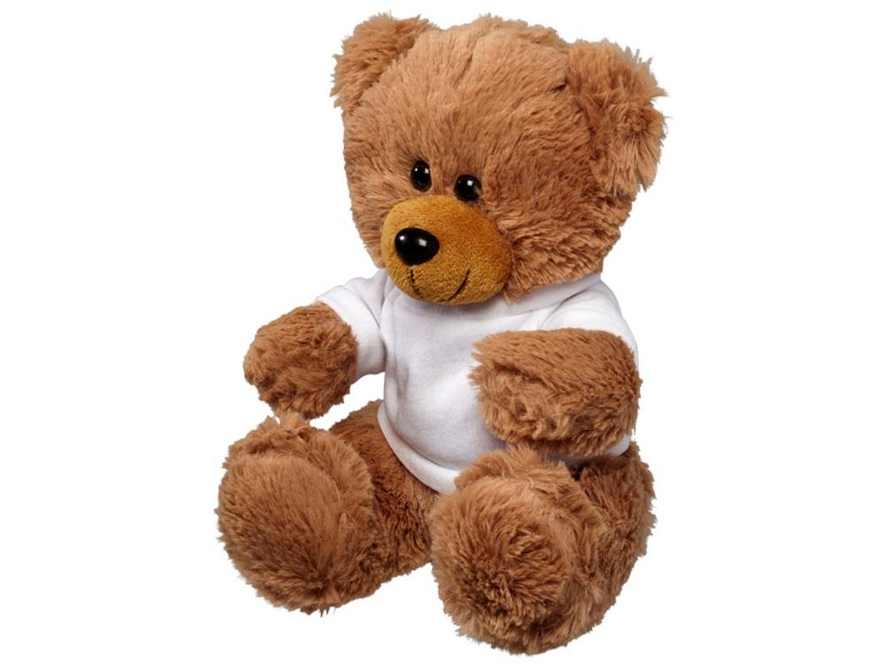Большой плюшевый медведь с футболкой, коричневый/белый