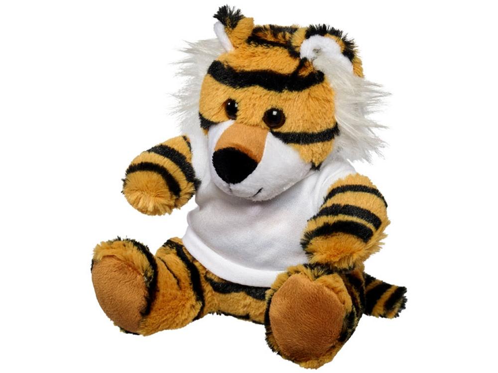 Плюшевый тигр с футболкой, коричневый/черный/белый