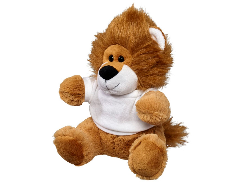 Плюшевый лев с футболкой, коричневый/белый
