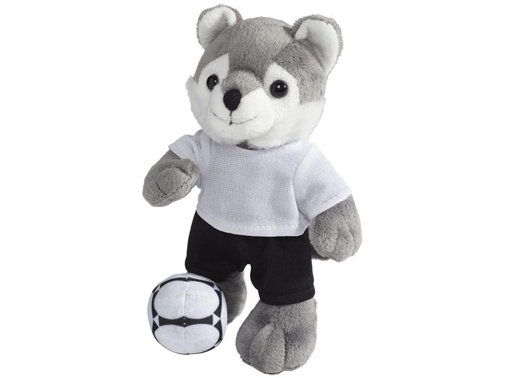 Плюшевый волк с футболкой, серый/белый