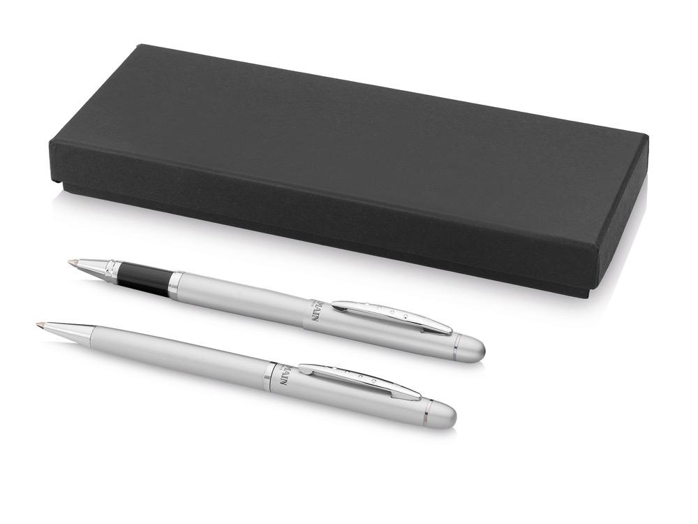 Набор ручек Arlesв подарочной коробке: ручка шариковая и роллер, серебристый, черные чернила