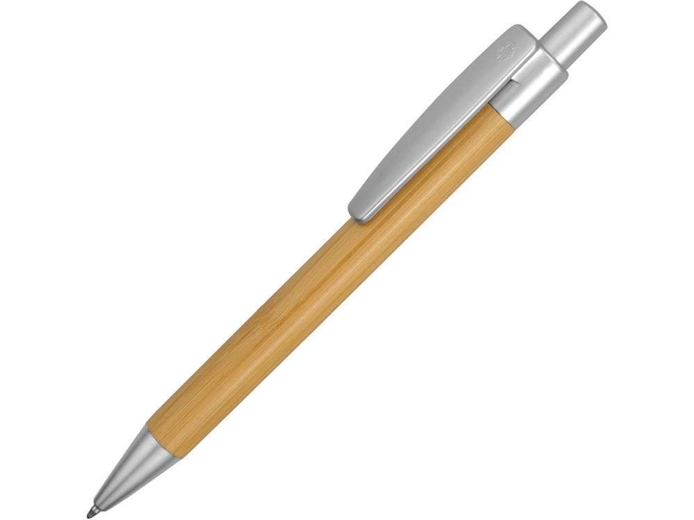 Ручка шариковая Borneo из бамбука, серебряный, черные чернила