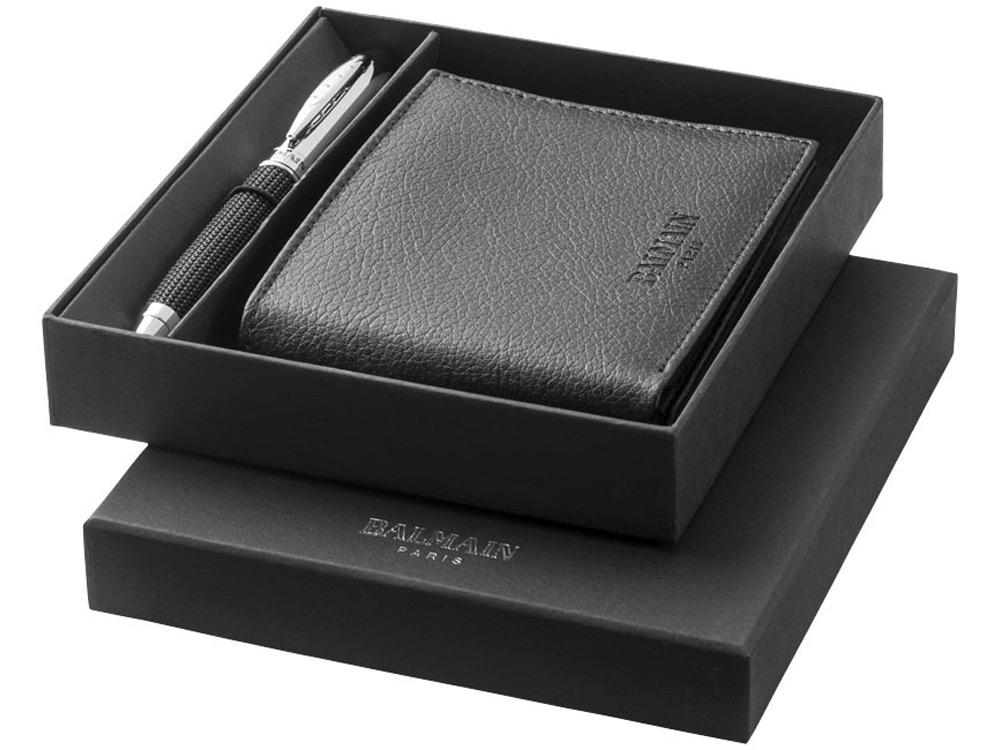 Подарочный набор: ручка шариковая, бумажник, черный
