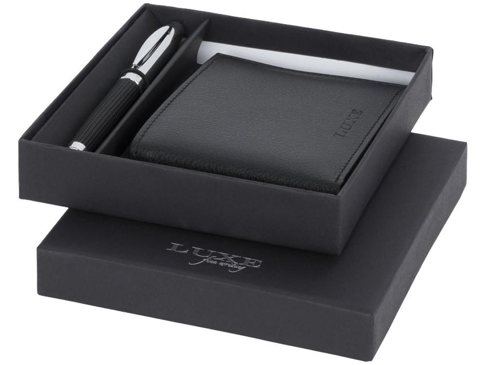 Подарочный набор из шариковой ручки и портмоне, черный