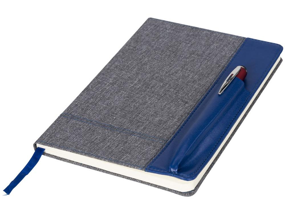 Блокнот А5 с кожаной вставкой, синий