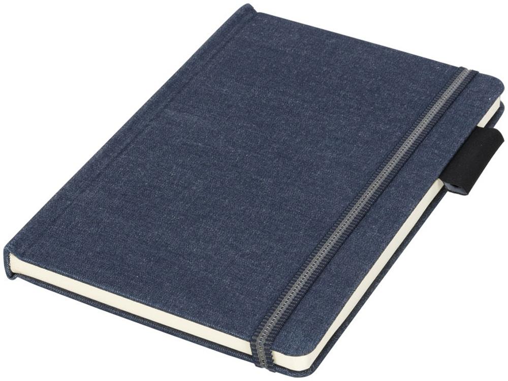 Блокнот Jeans формата A5 из ткани, темно-синий