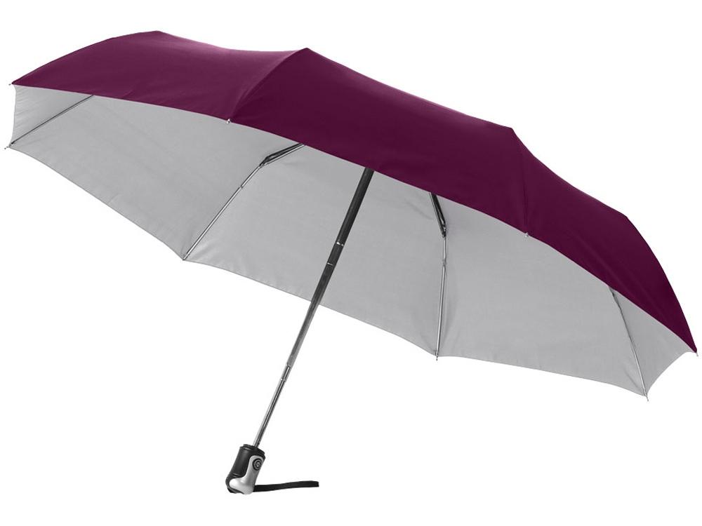 Зонт Alex трехсекционный автоматический 21,5, бургунди/серебристый