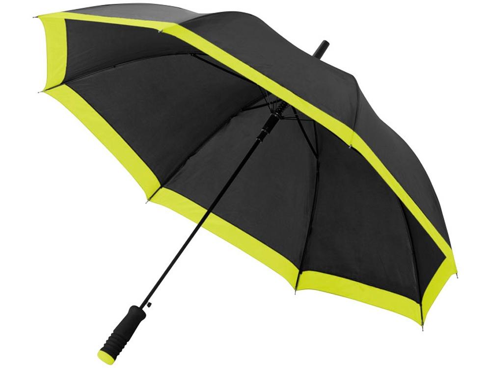 Зонт-трость Kris 23 полуавтомат, черный/неоново-зеленый