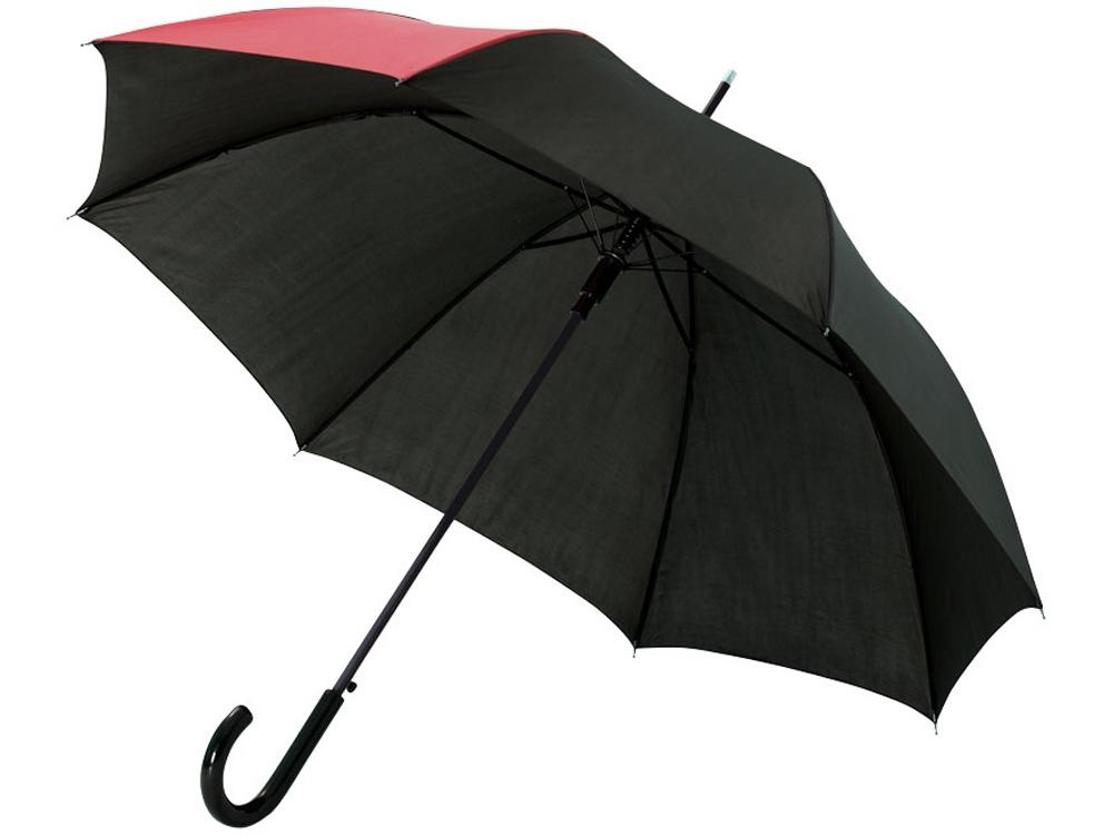 Зонт-трость Lucy 23 полуавтомат, черный/красный
