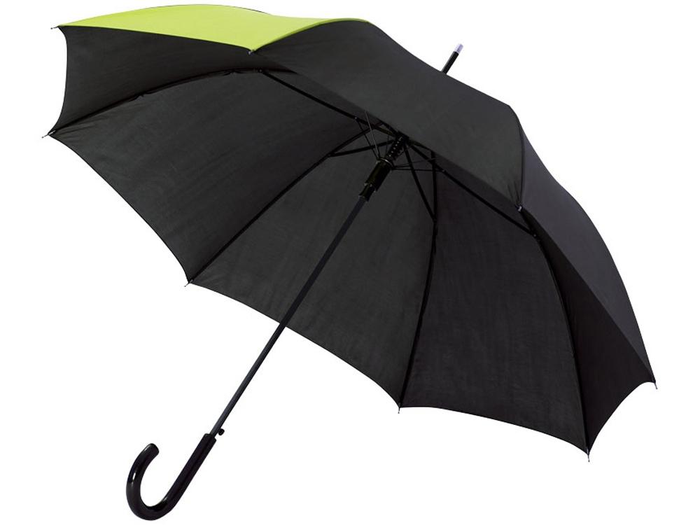 Зонт-трость Lucy 23 полуавтомат, черный/неоново-зеленый