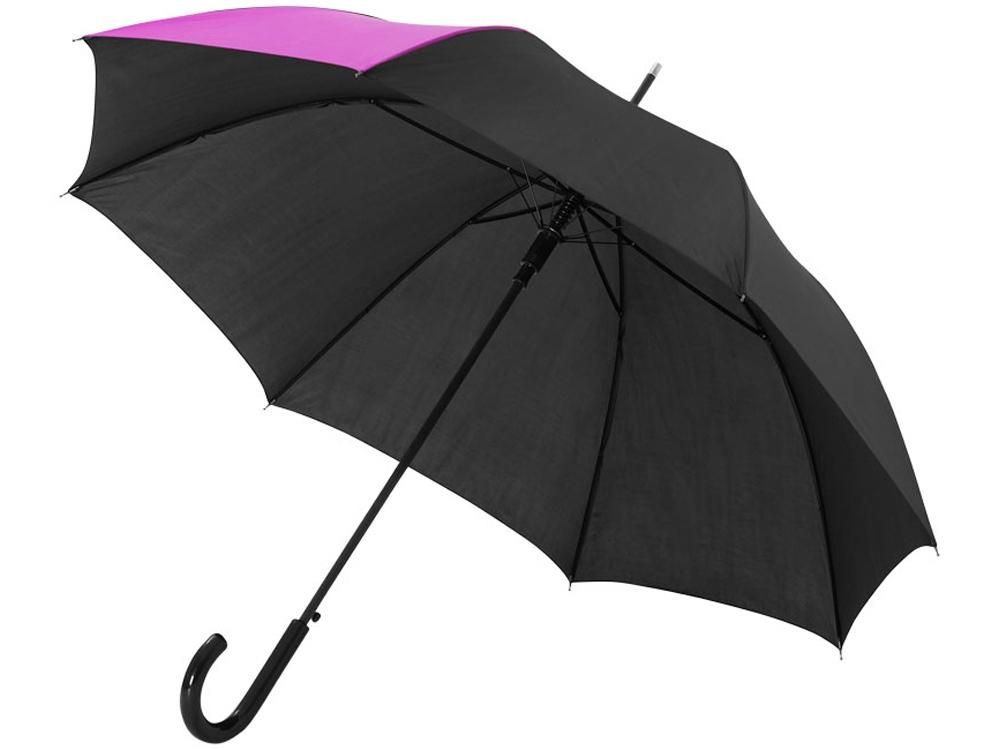 Зонт-трость Lucy 23 полуавтомат, черный/фуксия