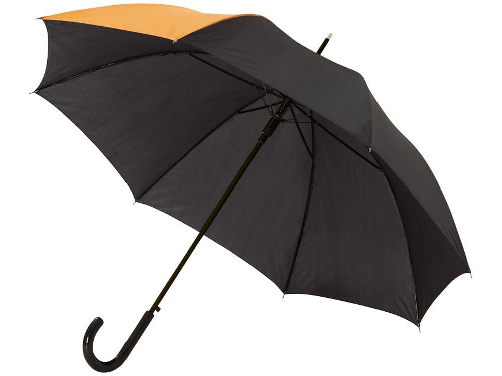 Зонт-трость Lucy 23 полуавтомат, черный/оранжевый
