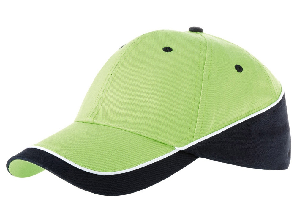Бейсболка Draw 6-ти панельная, зеленое яблоко/темно-синий/белый
