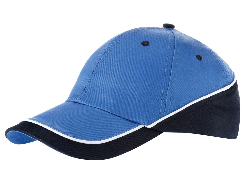 Бейсболка Draw 6-ти панельная, небесно-голубой/темно-синий/белый