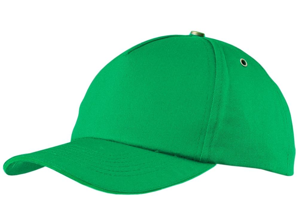 Бейсболка New York  5-ти панельная  с металлической застежкой и фурнитурой, зеленый