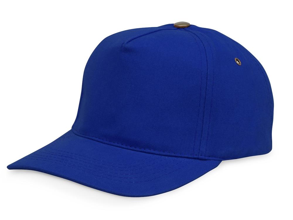 Бейсболка New York  5-ти панельная  с металлической застежкой и фурнитурой, классический синий