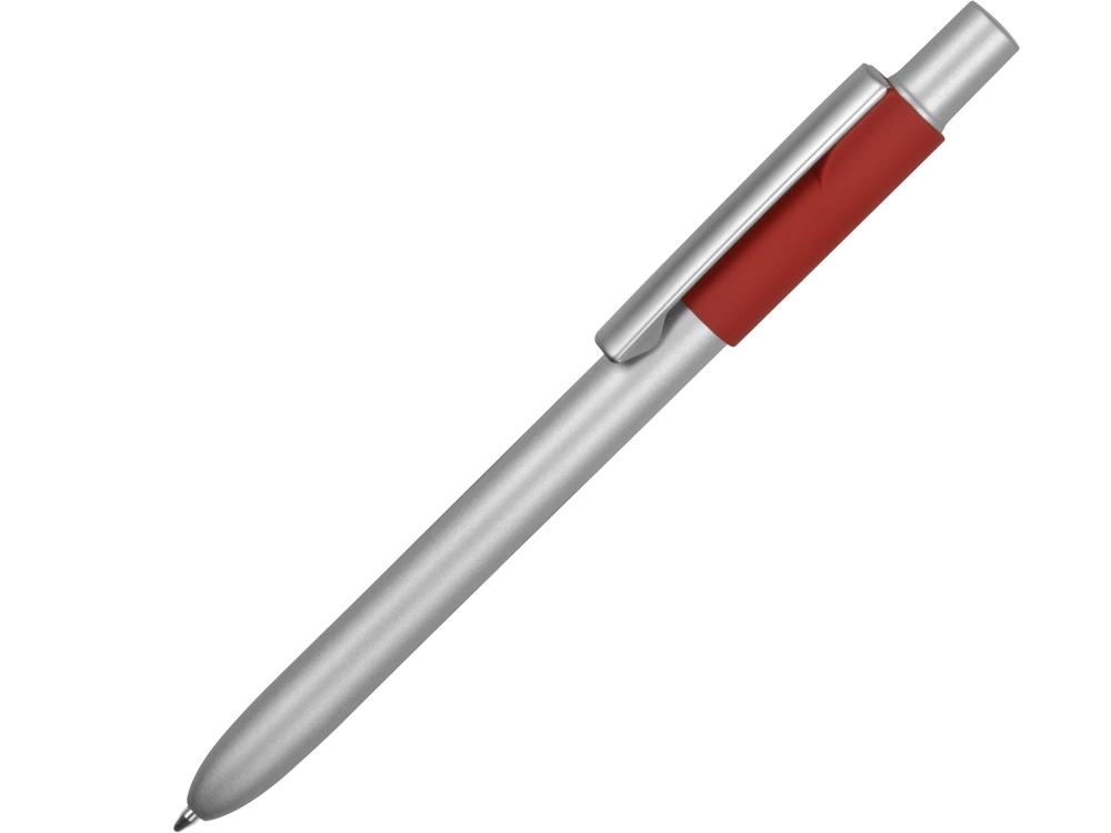 Ручка металлическая шариковая Bobble с силиконовой вставкой, серый/красный