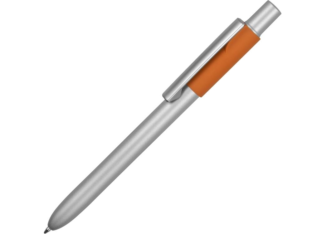 Ручка металлическая шариковая Bobble с силиконовой вставкой, серый/оранжевый