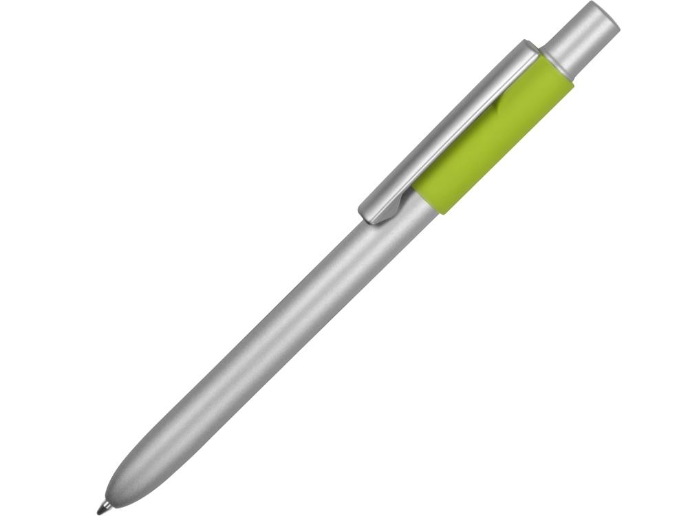 Ручка металлическая шариковая Bobble с силиконовой вставкой, серый/зеленое яблоко