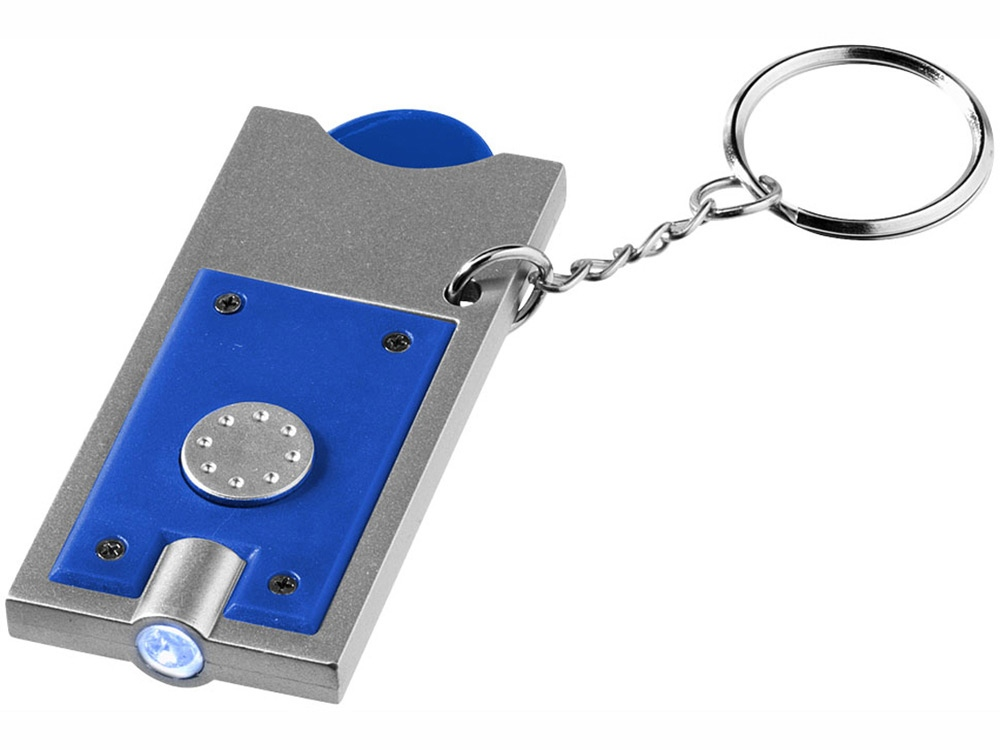 Брелок-держатель для монет Allegro с фонариком, ярко-синий/серебристый